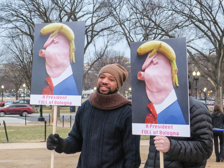 מפגין נושא כרזת מחאה שבה דיוקן דונלד טראמפ, עשוי בננה ונקניק. תמונה: Joe Flood (cc-by-nc-nd)