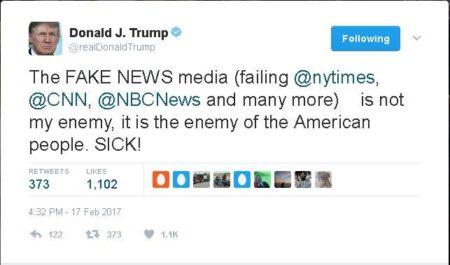 """ציוץ שנשיא ארה""""ב דונלד טראמפ מחק מטוויטר: """"""""תקשורת ה*פייק ניוז* (ניו יורק טיימס, סי.אן.אן, אן.בי.סי ניוז הכושלים ורבים אחרים)   היא לא האויב שלי, היא האויב של העם האמריקאי. *חולני!*"""""""