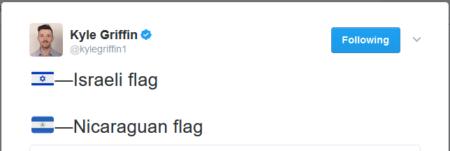 דגלי ישראל וניקרגואה באמוג'י, מתוך ציוץ של קייל גריפין