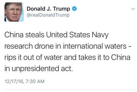 """ציוץ של נשיא ארה""""ב דונלד טראמפ עם המילה unpresidented"""