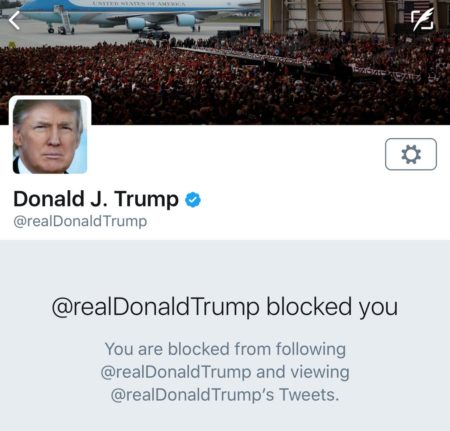 הודעה שקיבל משתמש טוויטר שנחסם על ידי החשבון האישי של דונלד טראמפ. תמונה: @oppstn