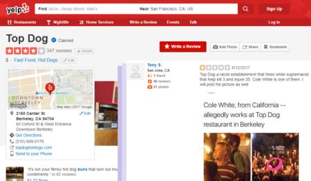 ביקורות כוכב אחד באתר ילפ למסעדת טופ דוג על העסקת עובד שנטען שהשתתף בהפגנת הנאו-נאצים בשרלוטסוויל, 8/2018. עיבוד: חדר 404