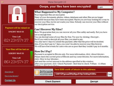 הודעת ההצפנה ודרישת התשלום שהכופרה WannaCry מציגה על מחשבים נגועים
