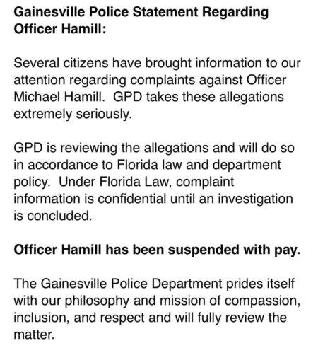 """הודעת ההשעייה של """"השוטר הלוהט"""" מייקל המיל בטוויטר של משטרת גיינסוויל"""