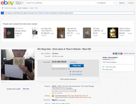 מרטין שקרלי מציע למכירה פומבית באיביי את האלבום Once Upon a Time in Shaolin של וו טאנג קלאן