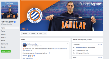 דף הפייסבוק של הכדור-רגלן הצרפתי רובן אגילר