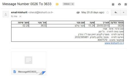 """הודעה שהתקבלה אצל ד""""ר תמר עילם גינדין: """"אמין """"מעוניין לקבוע ראיון עם ד""""ר גינדין, מספר טלפון בלונדון 2032395981"""""""