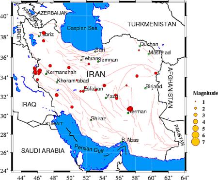 מיקום רעידות אדמה באיראן, 3/12/2017 📷 מרכז הסייסמולוגיה של אוניברסיטת טהראן