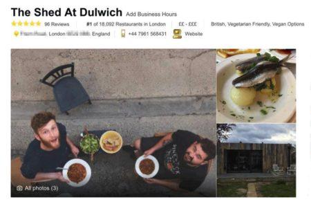 המסעדה הפיקטיבית The Shed at Dulwich מדורגת במקום הראשון בלונדון 📷 צילומסך מטריפאדבייזר