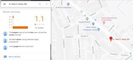 """דירוגי גוגל מפות של ד""""ר מארק די. ביל 📷 צילומסך"""
