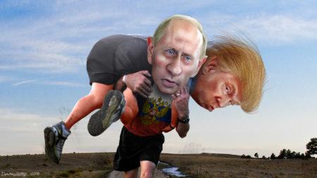 """נשיא רוסיה ולדימיר פוטין נושא על גבו את נשיא ארה""""ב דונלד טראמפ 🖌️ donkeyhotey cc-by-sa"""