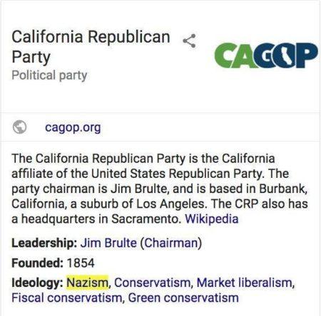 גוגל מסווגת את המפלגה הרפובליקנית בקליפורניה כתומכת בנאציזם