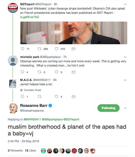 הציוץ הגזעני של רוזאן בר נגד ואלרי ג'ארט