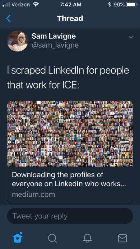 הציוץ של סאם לוין על שאיבת המידע על עובדי ICE