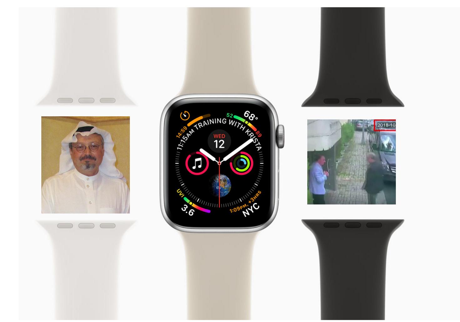 אייפון וואץ' וג'מאל חשוקג'י 📸 Alfagih cc-by-sa; צילומסך מאתר אפל; צילומסך מסרטון האבטחה של הקונסוליה הסעודית בטורקיה