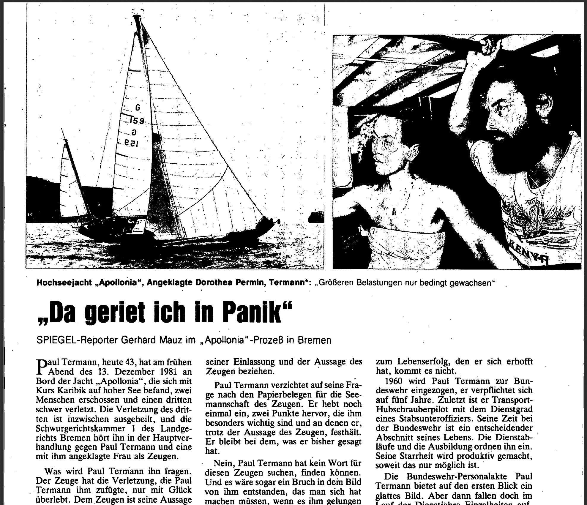 הדיווח על רצח אפולוניה בדר שפיגל, 1982