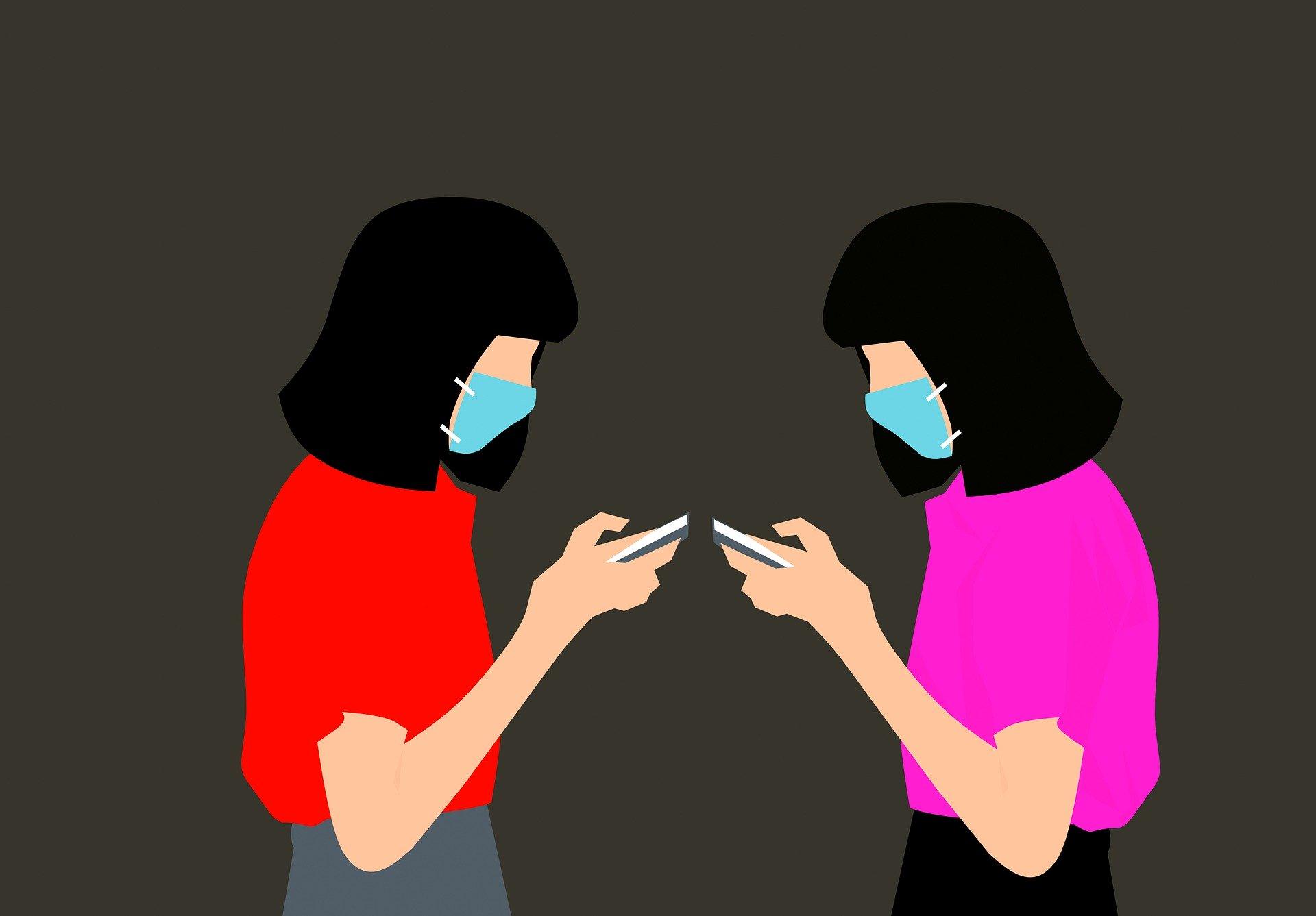 נשים במסיכות עם סלולרי 🎨 מוחמד חסן