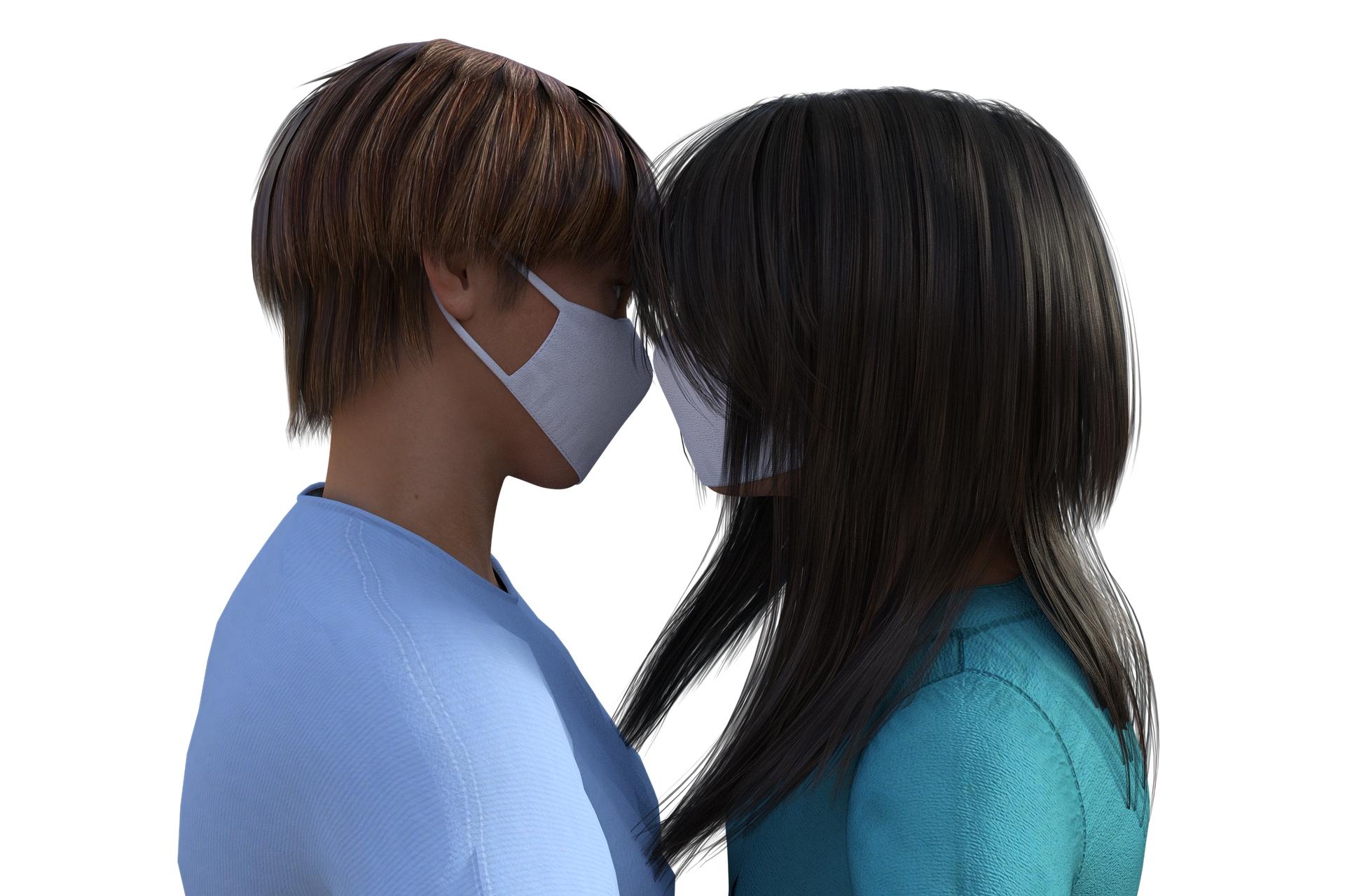 זוג במסיכות מתנשק 🖼️ TheDigitalArtist