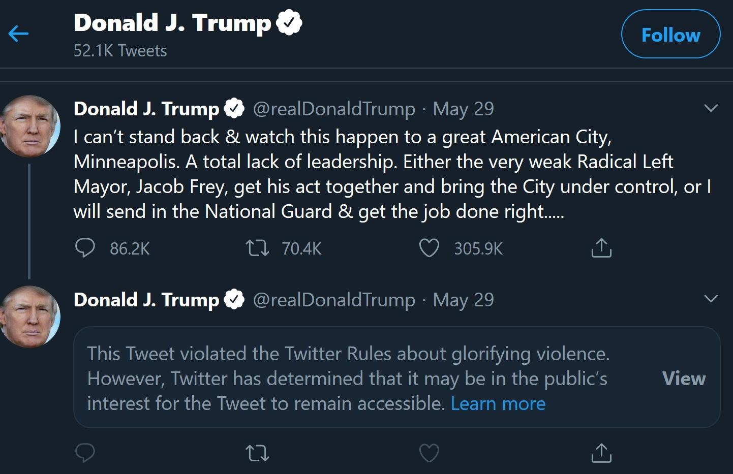 טוויטר מסמנים ציוץ של דונלד טראמפ כמאדיר אלימות