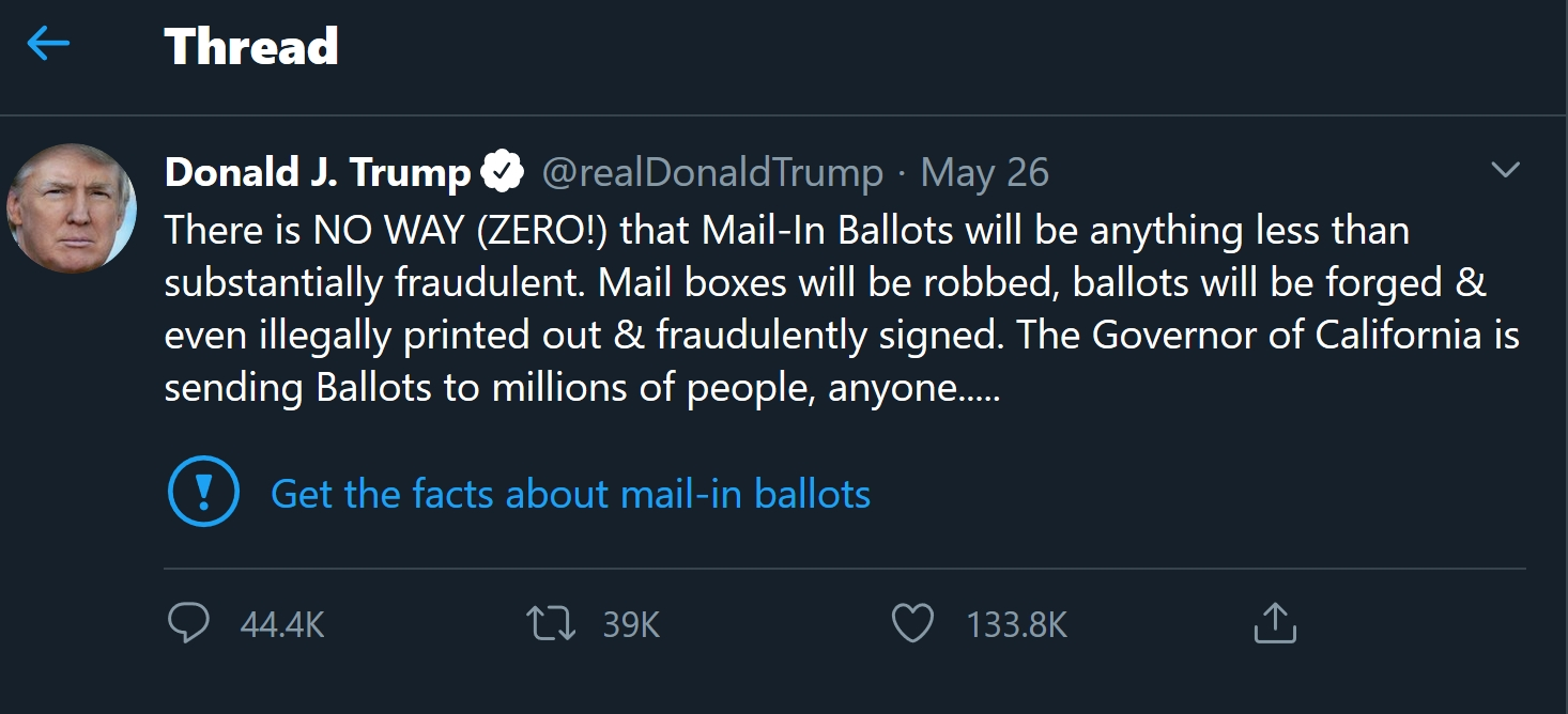 טוויטר מבצעים בדיקת עובדות לציוצים של דונלד טראמפ