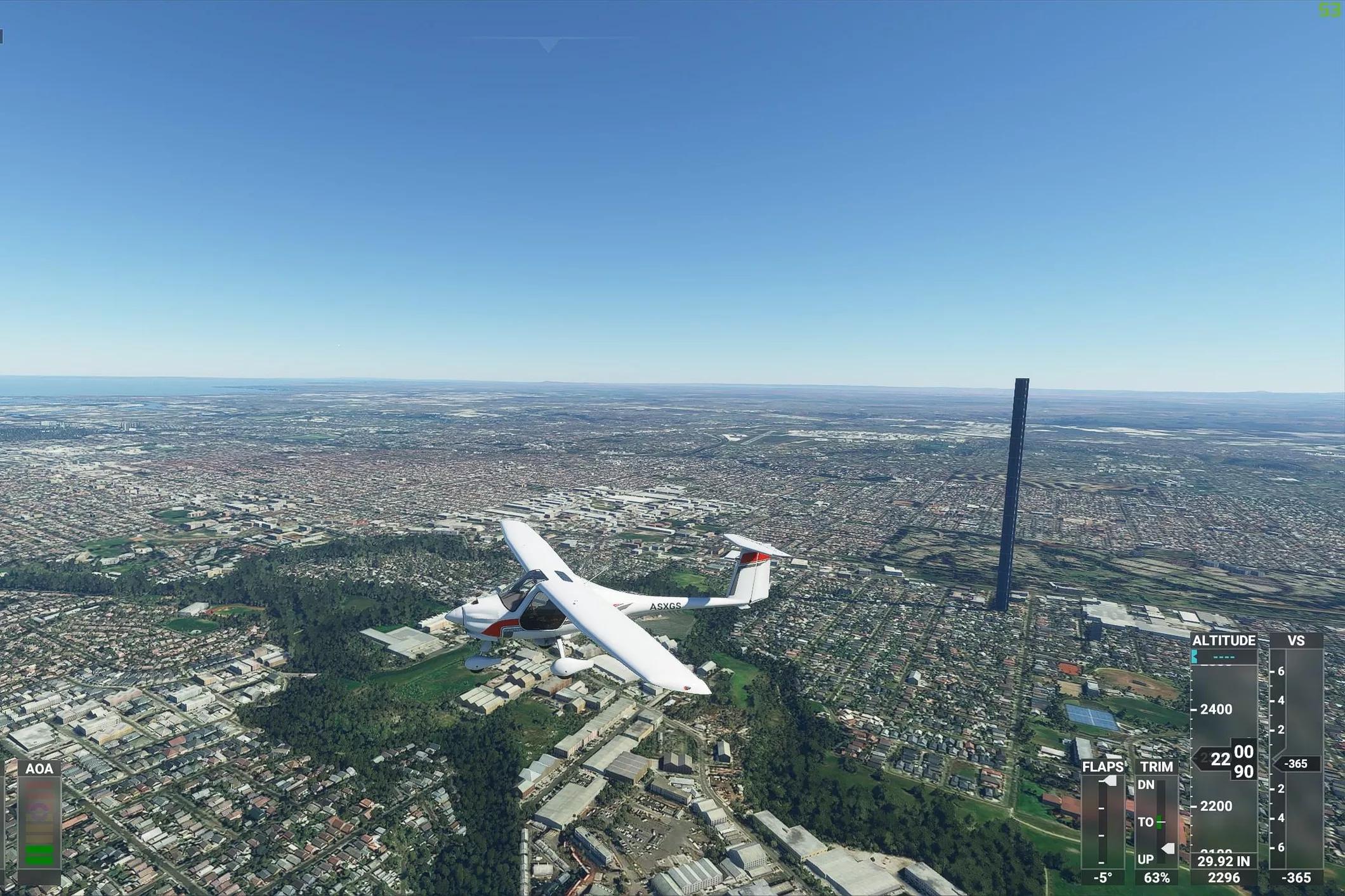 מגדל ענק במלבורן, אוסטרליה בסימולטור הטיסה מיקרוסופט 2020