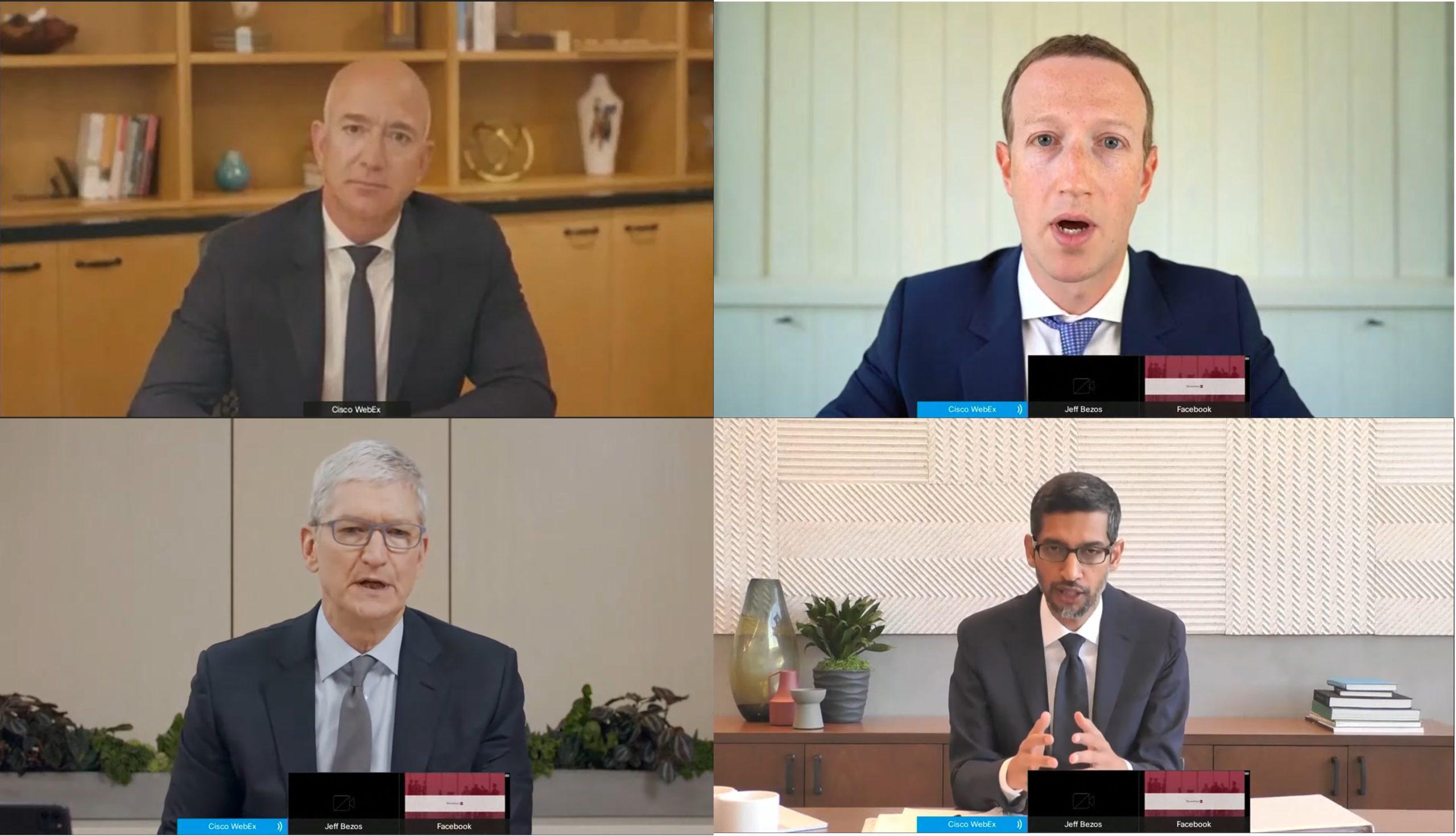 זאקרברג, בזוס (למעלה), פיצ'אי וקוק (למטה) בשימוע בוועדת ההגבלים העסקיים, 7.2020