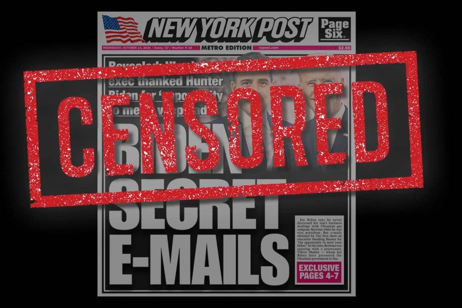 מחאת הניו יורק פוסט נגד צינזור תחקיר ביידן על ידי טוויטר ופייסבוק