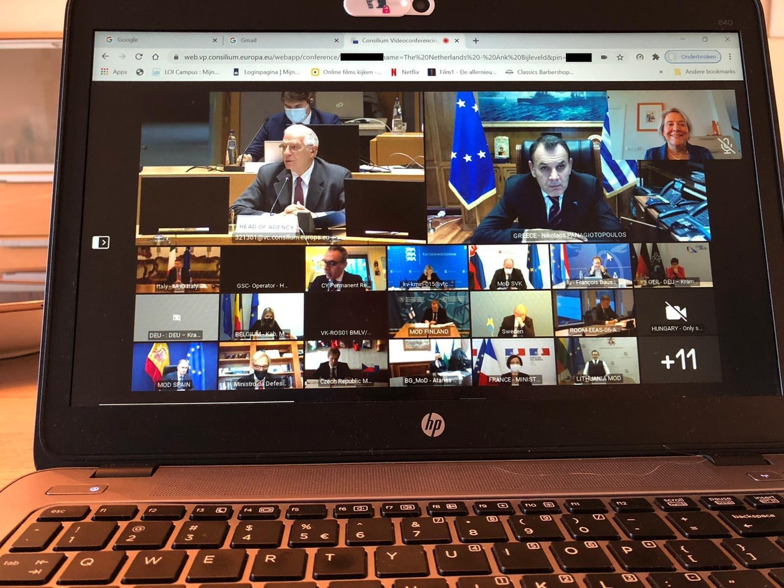שיחת הווידאו של שרי ההגנה האירופים במועצת יחסי החוץ של האיחוד האירופי 🖼️ הטוויטר של אנק ביילפלד