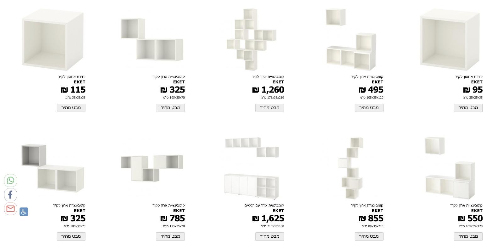 יחידת אחסון EKET באתר איקאה ישראל. למה כל כך הרבה וריאציות אקראיות במחירים שונים?