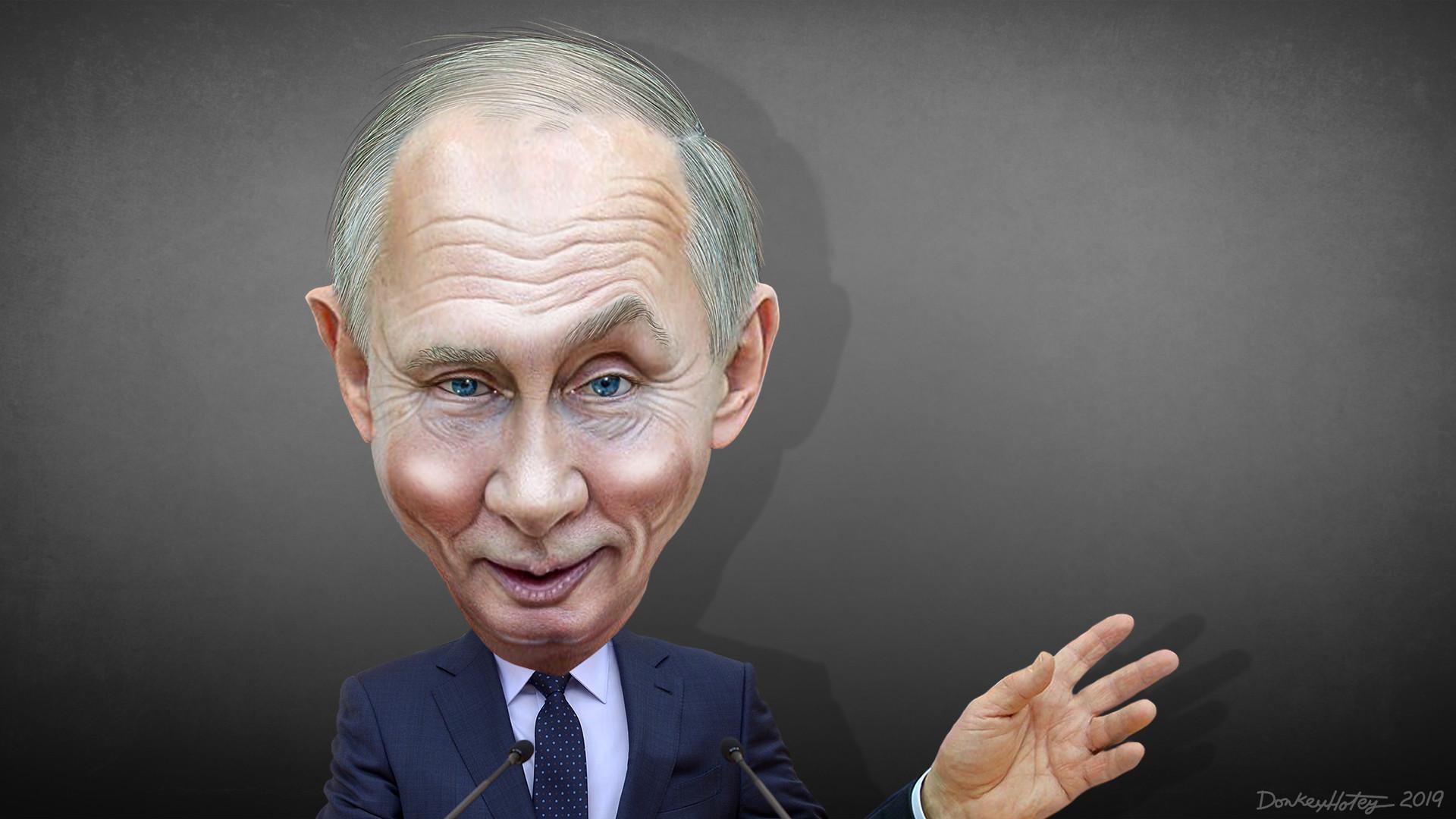 נשיא רוסיה ולדימיר פוטין 🖼️ DonkeyHotey cc-by