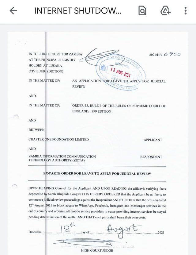 צו שמורה להשיב את הגישה לשירותי האינטרנט בזמביה 🖼️ צ'אפטר וואן פאונדיישן