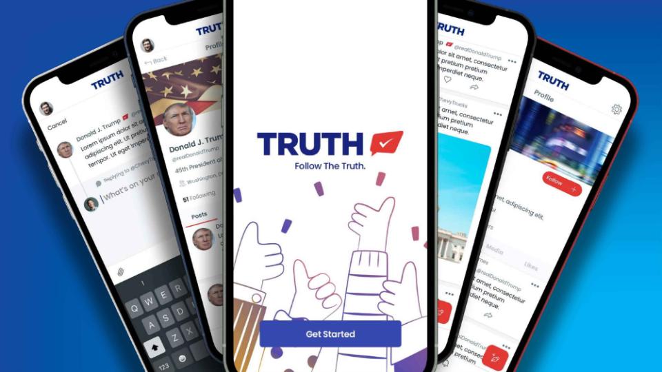 מוקאפ של הרשת החברתית TRUTH Social של דונלד טראמפ 🖼️ מצגת TMTG